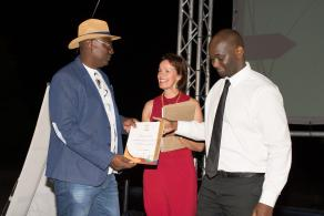 2016 Awards Gala function – Jaffeth Xoagub receiving a certificate for Namibia Wildlife Resorts' Dolomite Camp